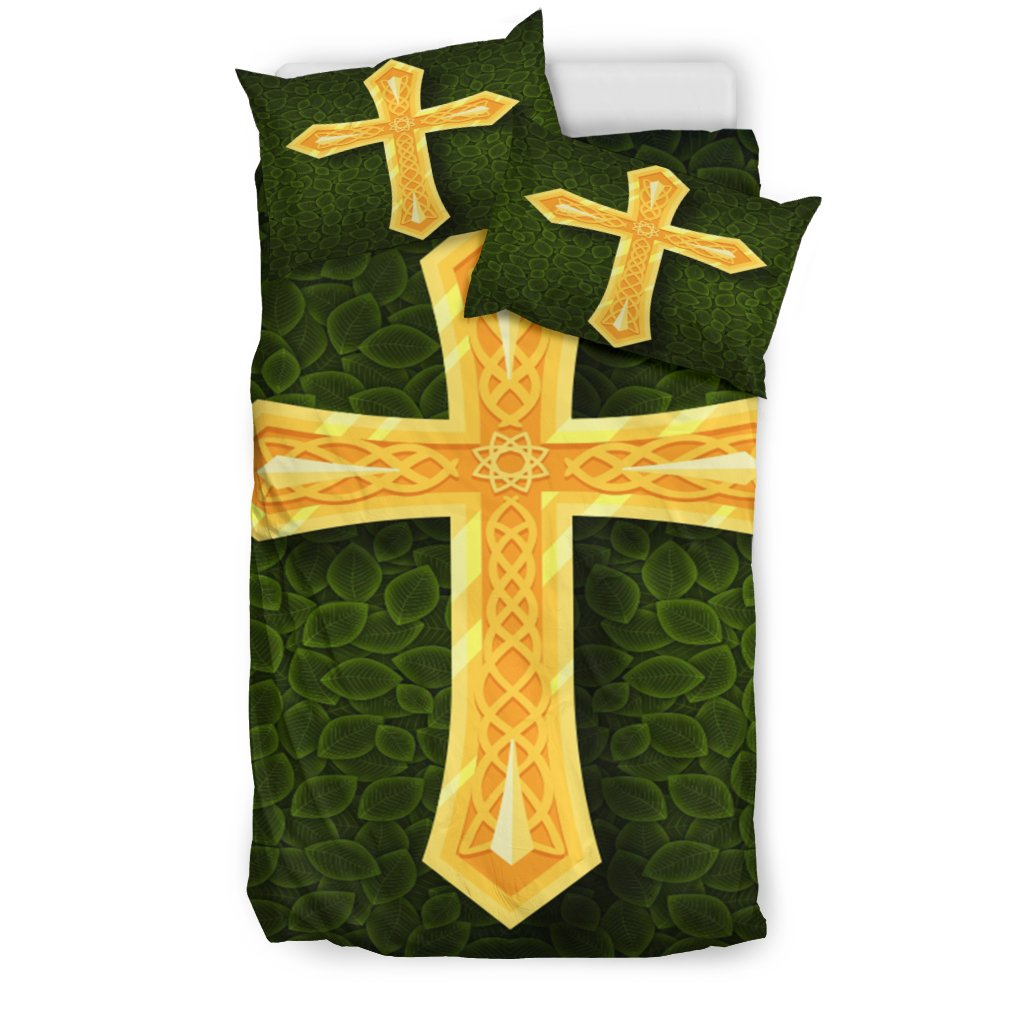 Golden Cross with Green Background Duvet Cover - Christianity Amore