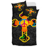 Colorful Hippie Love Cross Duvet Cover - Christianity Amore