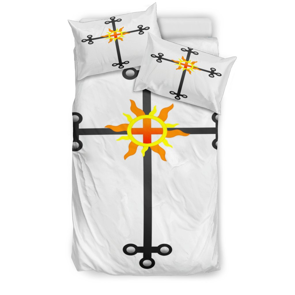 Iron Cross White Duvet Cover - Christianity Amore