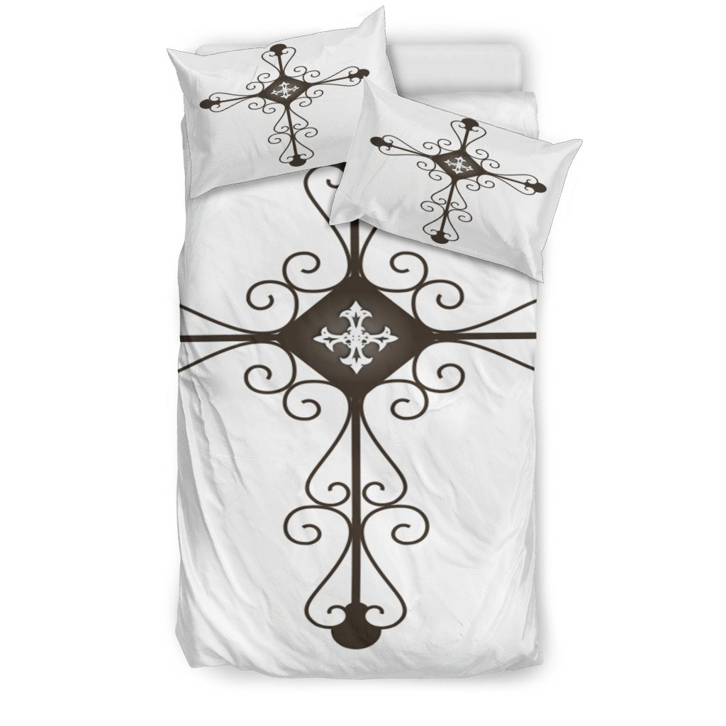 Black Iron Cross Duvet Cover - Christianity Amore