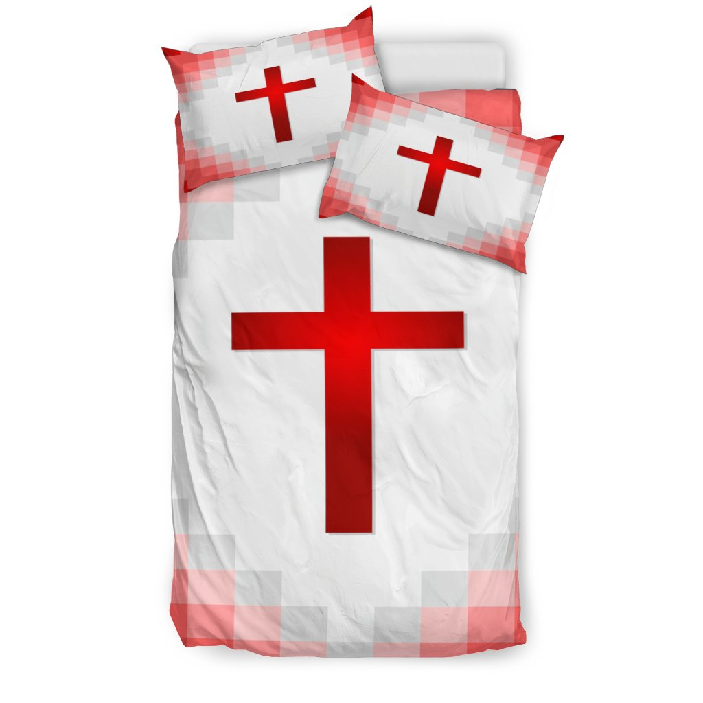 Red and White Cross Duvet Cover - Christianity Amore