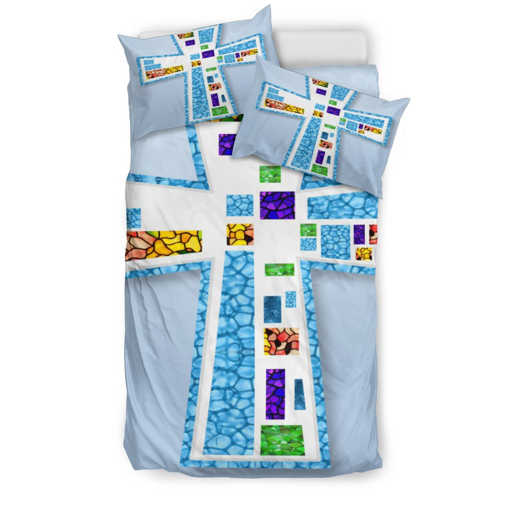 Blue Mosaic Cross Duvet Cover - Christianity Amore