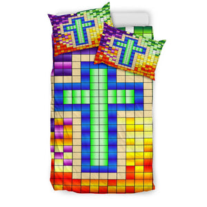 Pixel Cross Duvet Cover - Christianity Amore