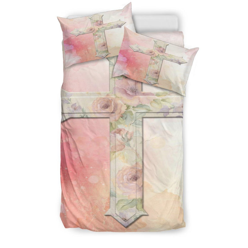 Lady Pink Cross Duvet Cover - Christianity Amore