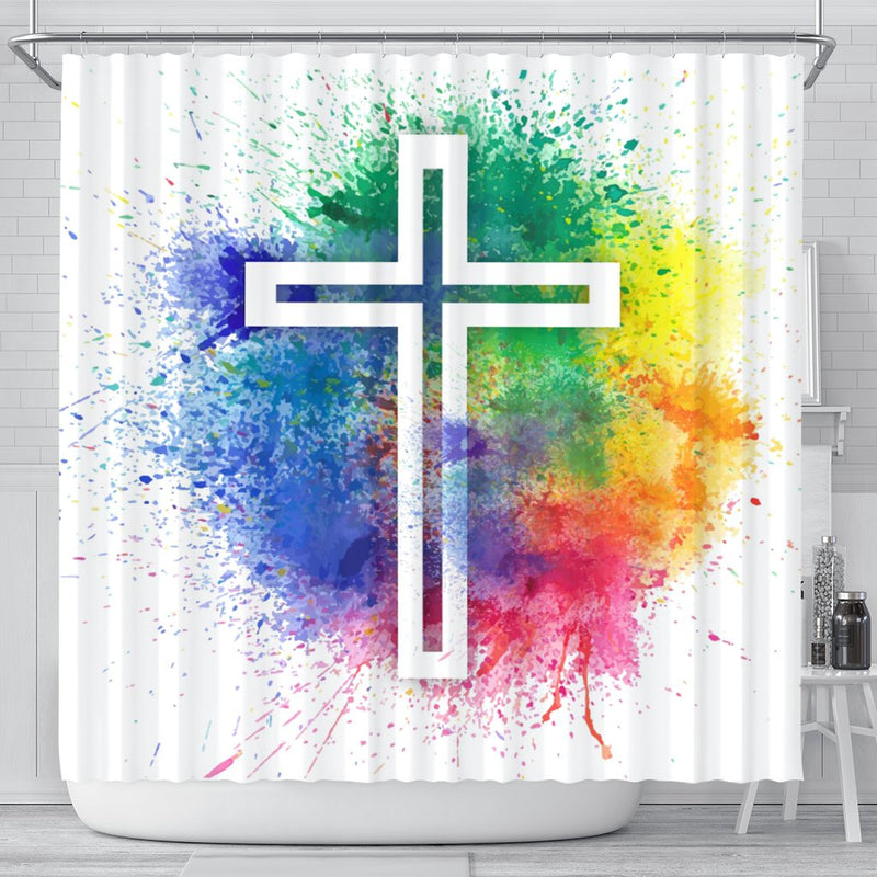 Paint Splatter Cross Shower Curtain - Christianity Amore