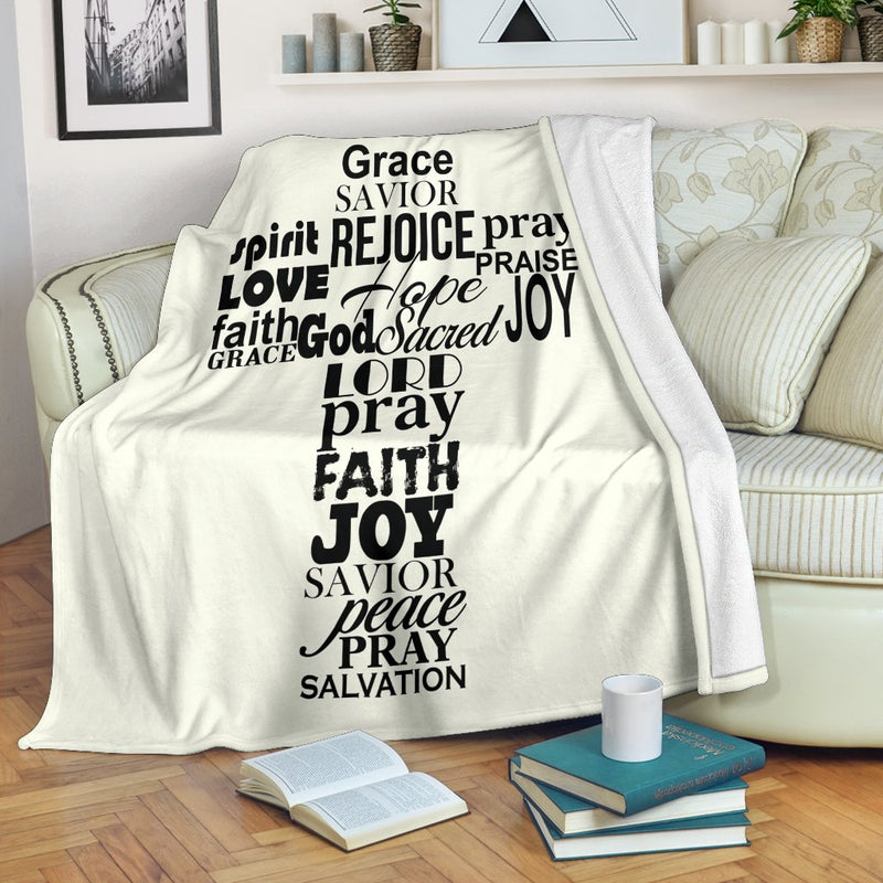 Rejoice Word Cross Blanket - Christianity Amore