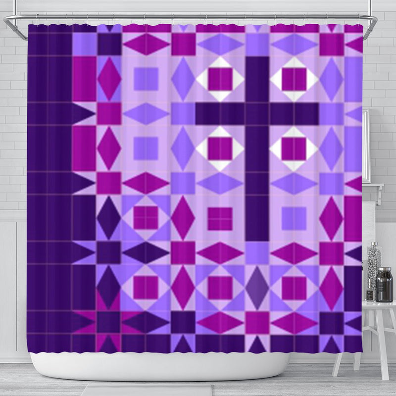 Quilted Purple Cross Shower Curtain - Christianity Amore