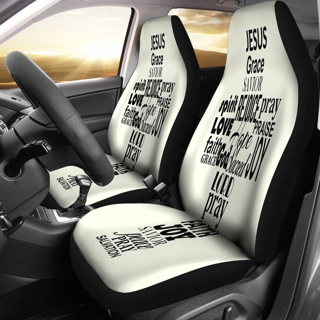 Word Cross Car Seat Cover - Christianity Amore