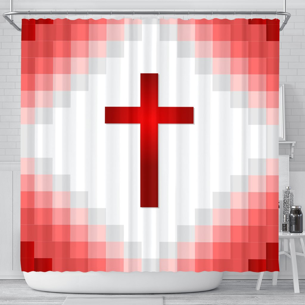 Red Gingham Cross Shower Curtain - Christianity Amore