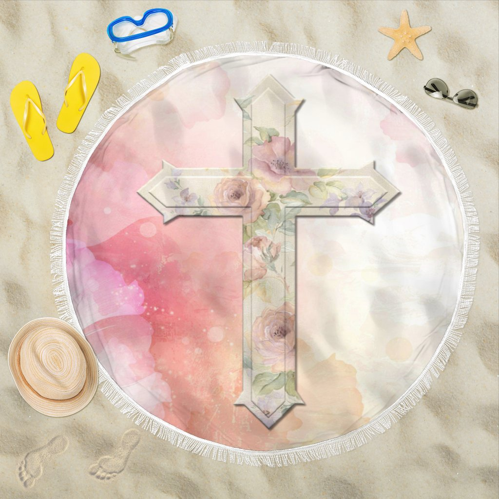 Pink Rose Cross Beach Towel - Christianity Amore