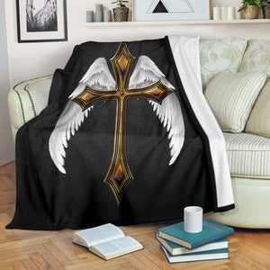 Winged Jeweled Cross Blanket - Christianity Amore