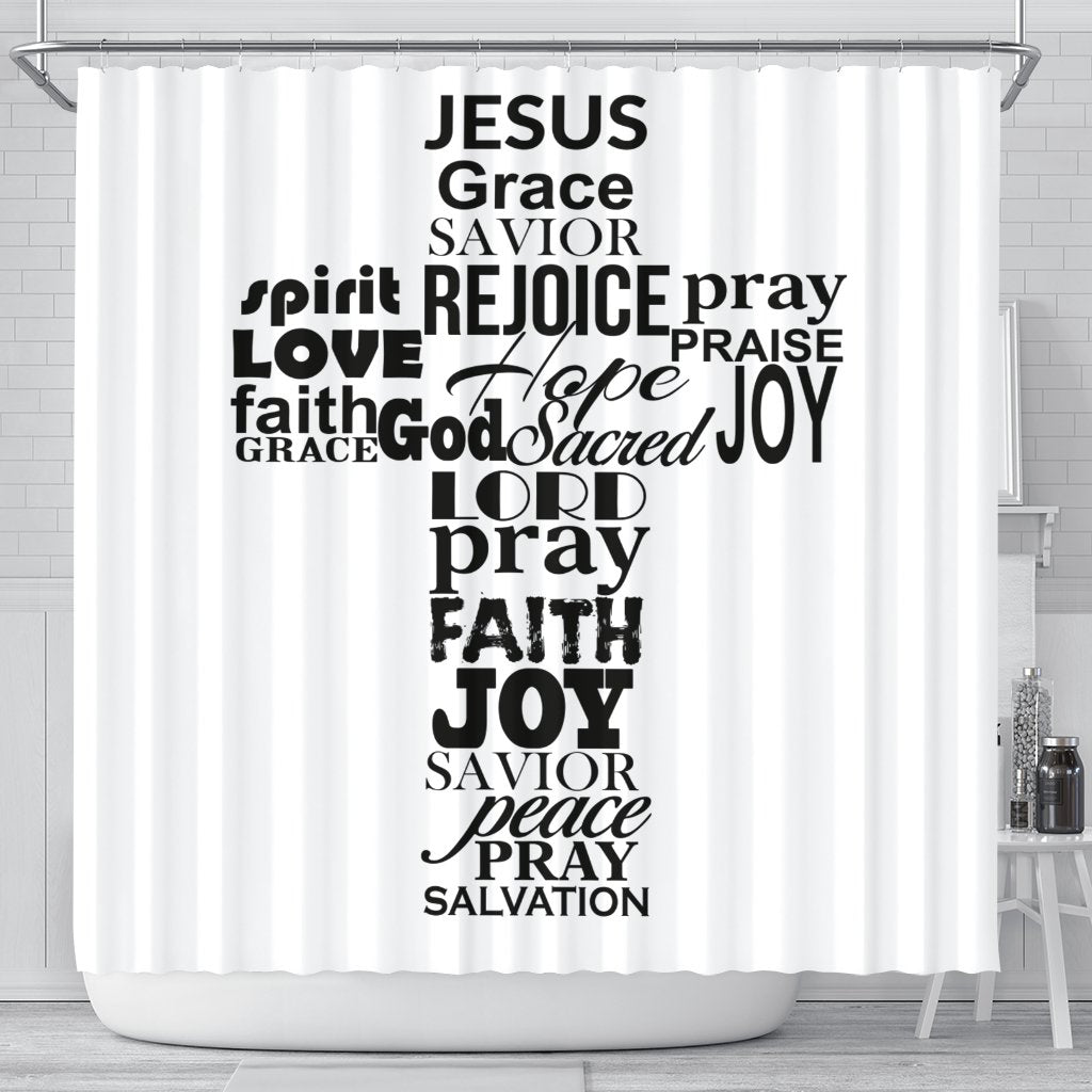 Jesus Cross White Shower Curtain - Christianity Amore