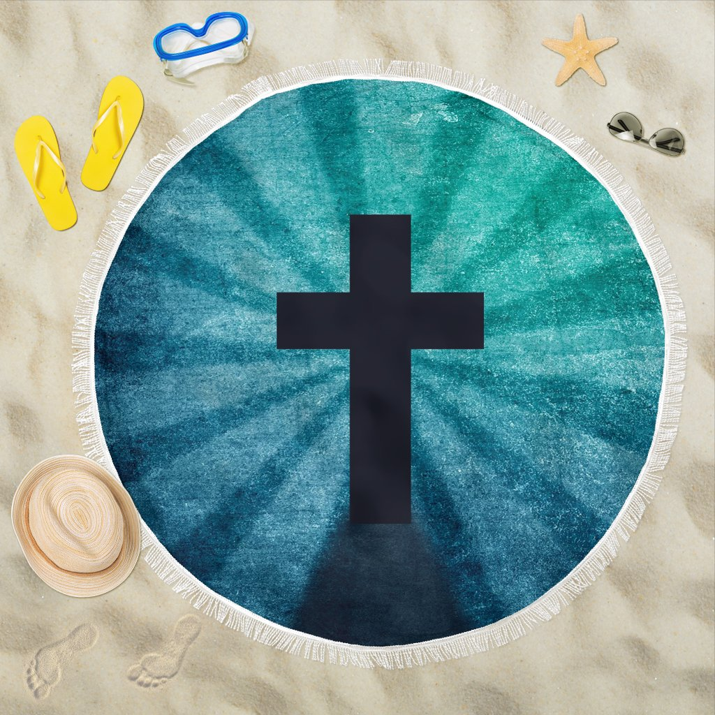 Blue Shadow Cross Beach Towel - Christianity Amore