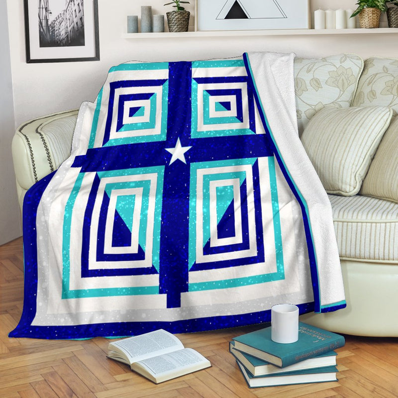Blue & Teal Miami Cross Blanket - Christianity Amore