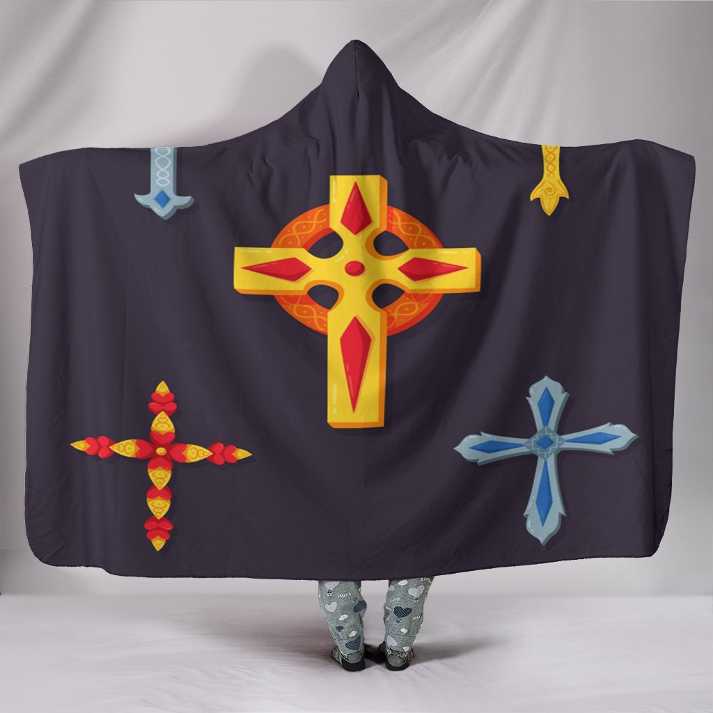 Five Cross Hooded Blanket - Christianity Amore