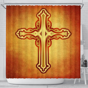 Rustic Sunset Color Cross Shower Curtain - Christianity Amore