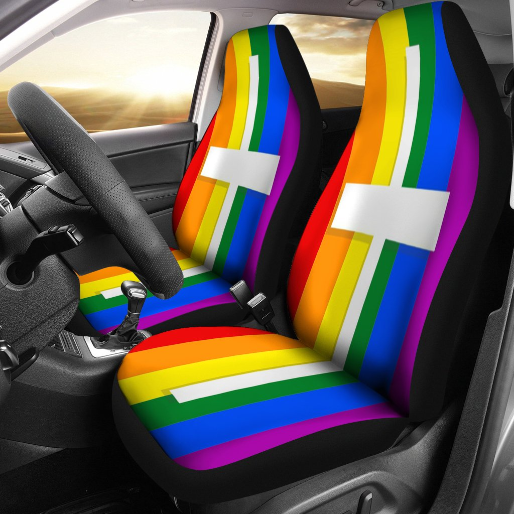 Gay Pride Cross Car Seat Covers - Christianity Amore