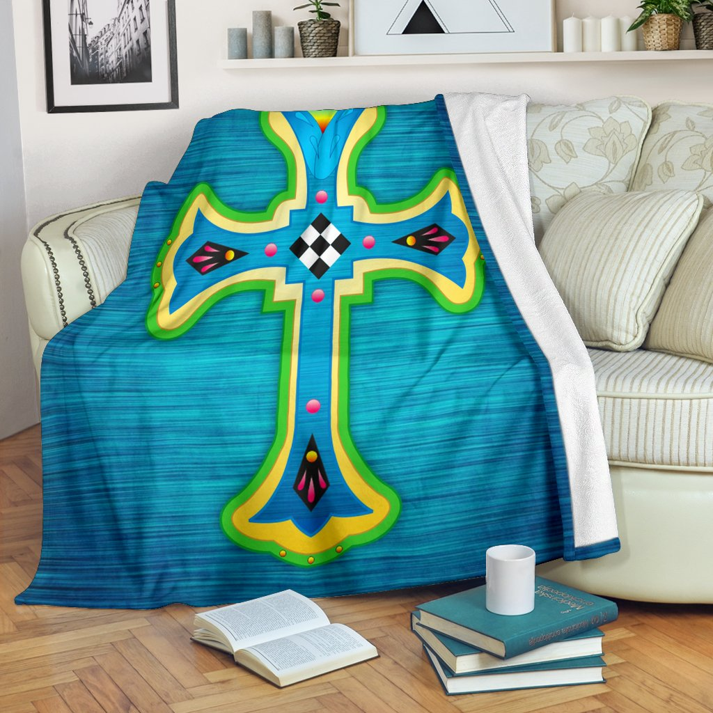 Modern Teal Cross Blanket - Christianity Amore
