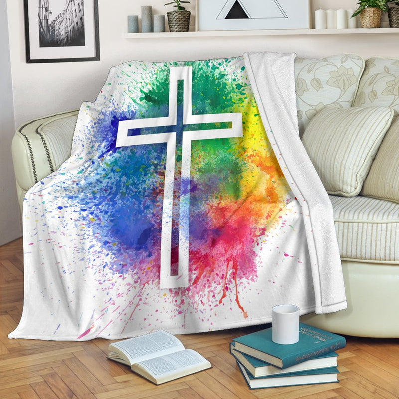 Paint Splatter Cross Blanket - Christianity Amore