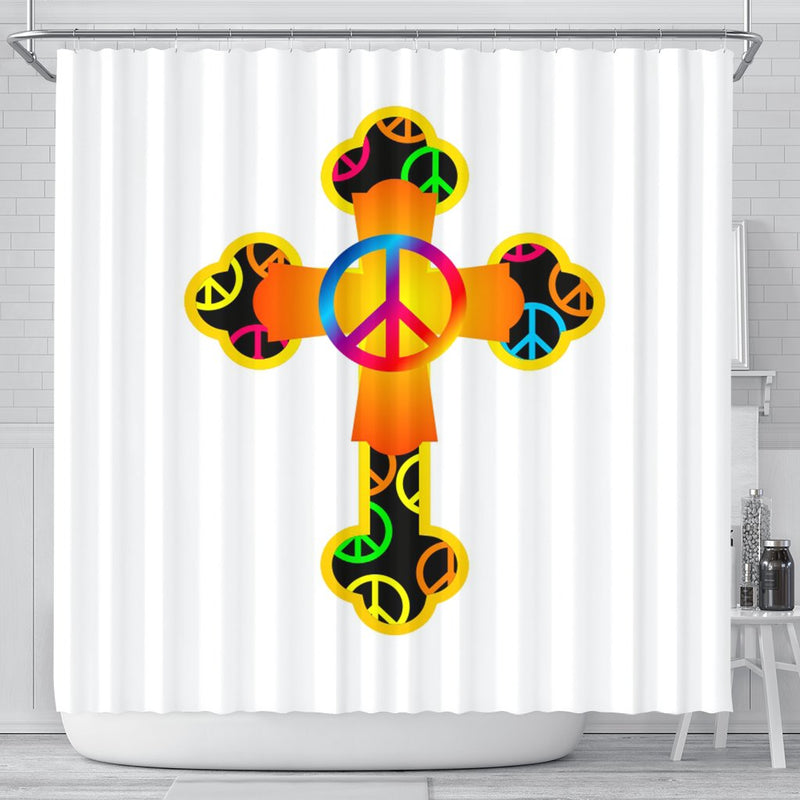 Hippie Cross on White Shower Curtain - Christianity Amore