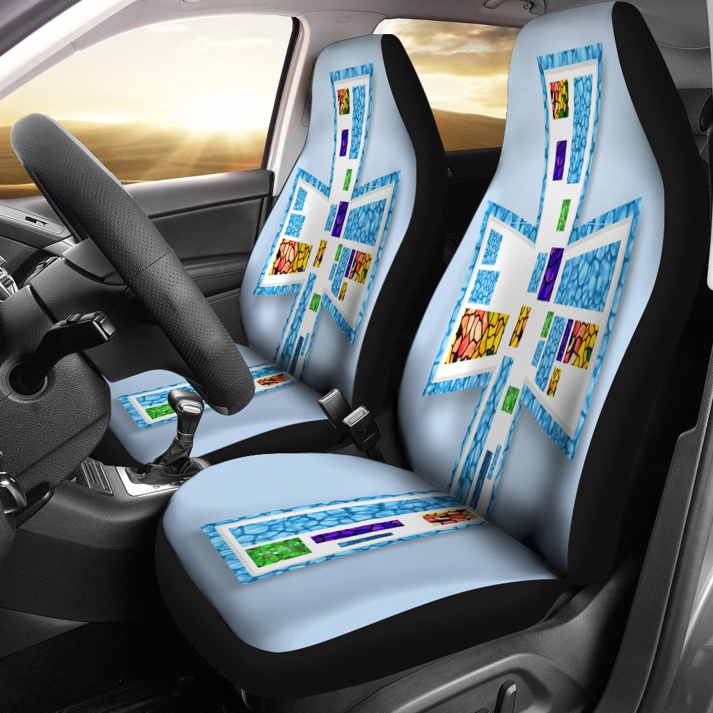 Mosaic Blue Cross Car Seat Covers - Christianity Amore