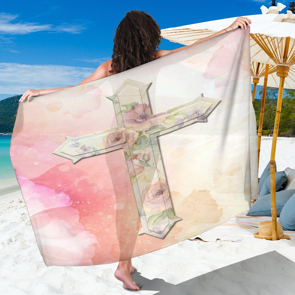 Pink Roses Cross Sarong - Christianity Amore