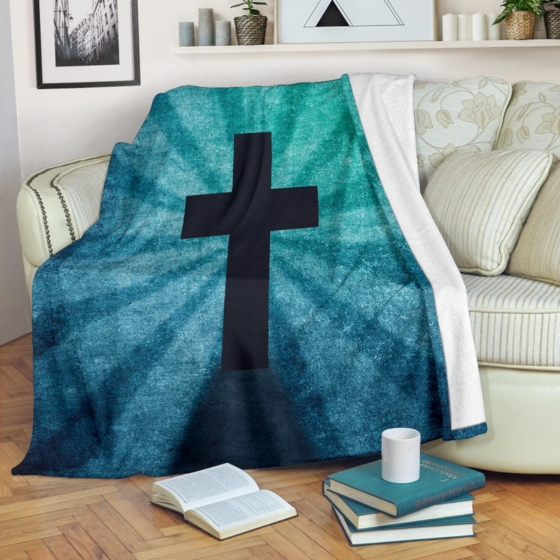 Blue Shadow Cross Blanket - Christianity Amore