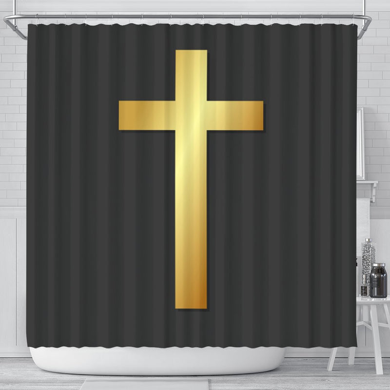 Gold Cross on Black Shower Curtain - Christianity Amore