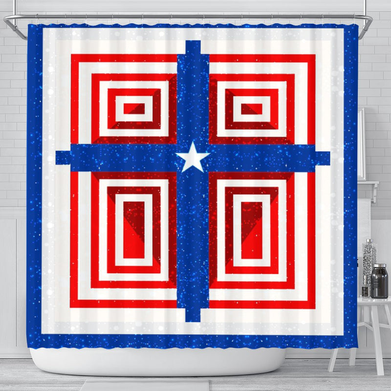 Patriotic Cross Shower Curtain - Christianity Amore
