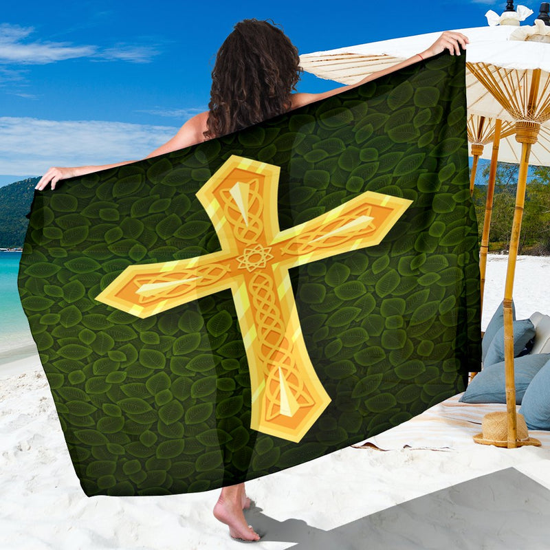 Gold & Green Cross Sarong - Christianity Amore