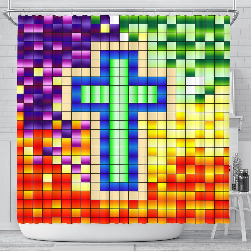 Youthful Colorful Cross Shower Curtain - Christianity Amore