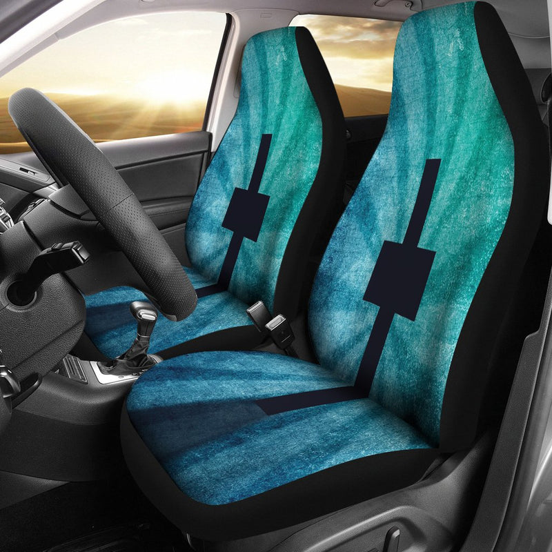 Blue Shadow Cross Car Seat Covers - Christianity Amore