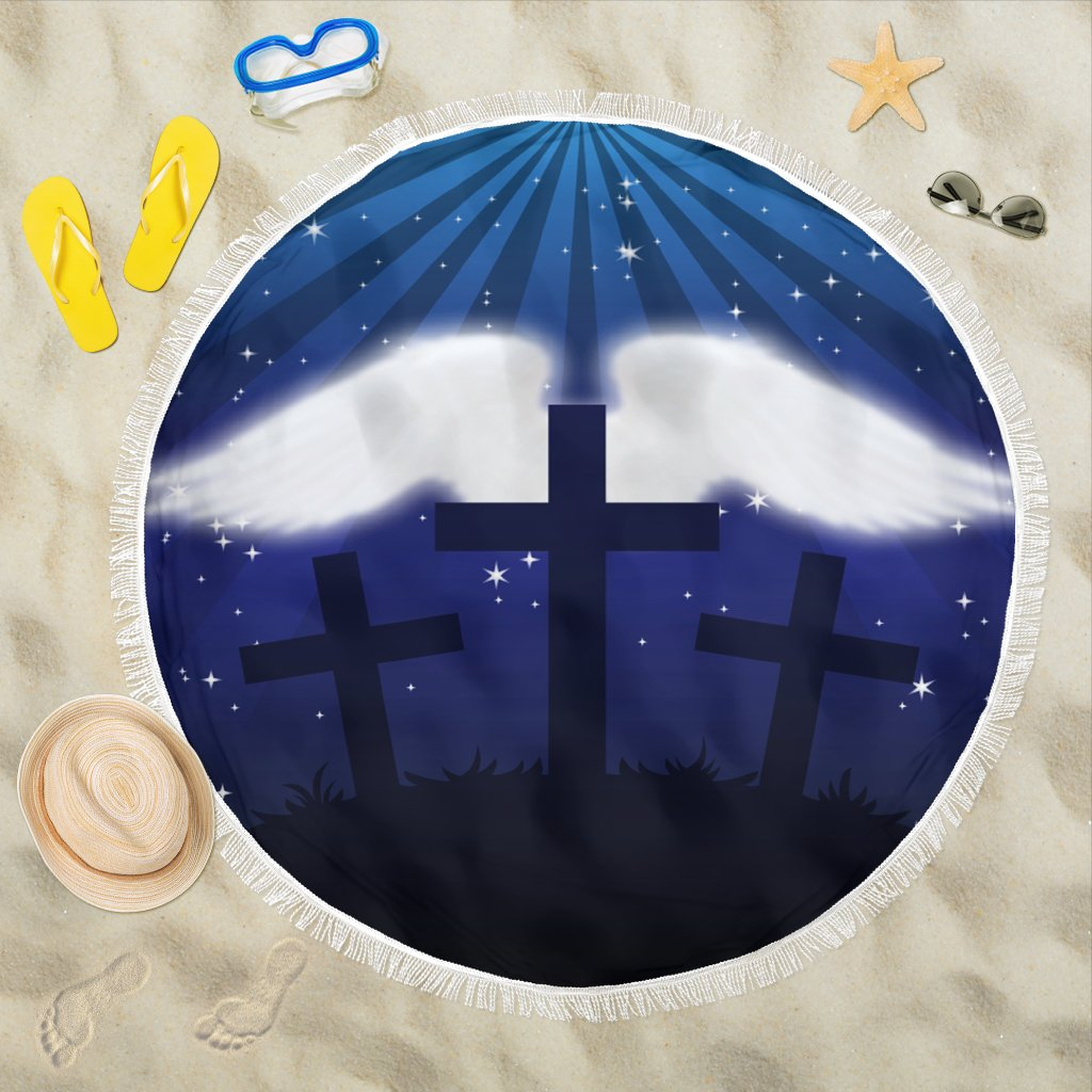 Wings with three Crosses Beach Towel - Christianity Amore