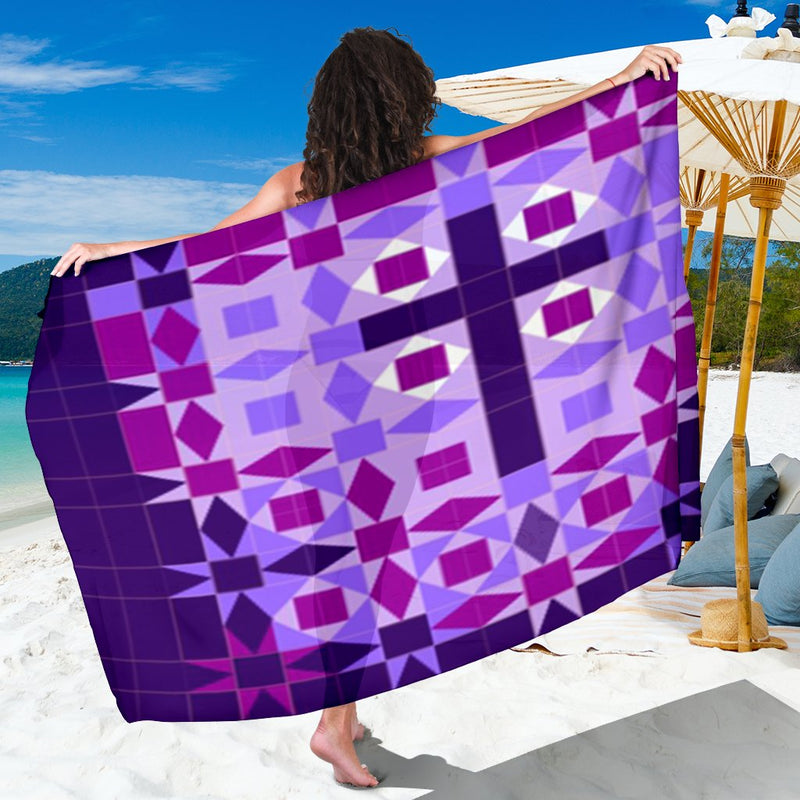 Purple Patchwork Cross Sarong - Christianity Amore