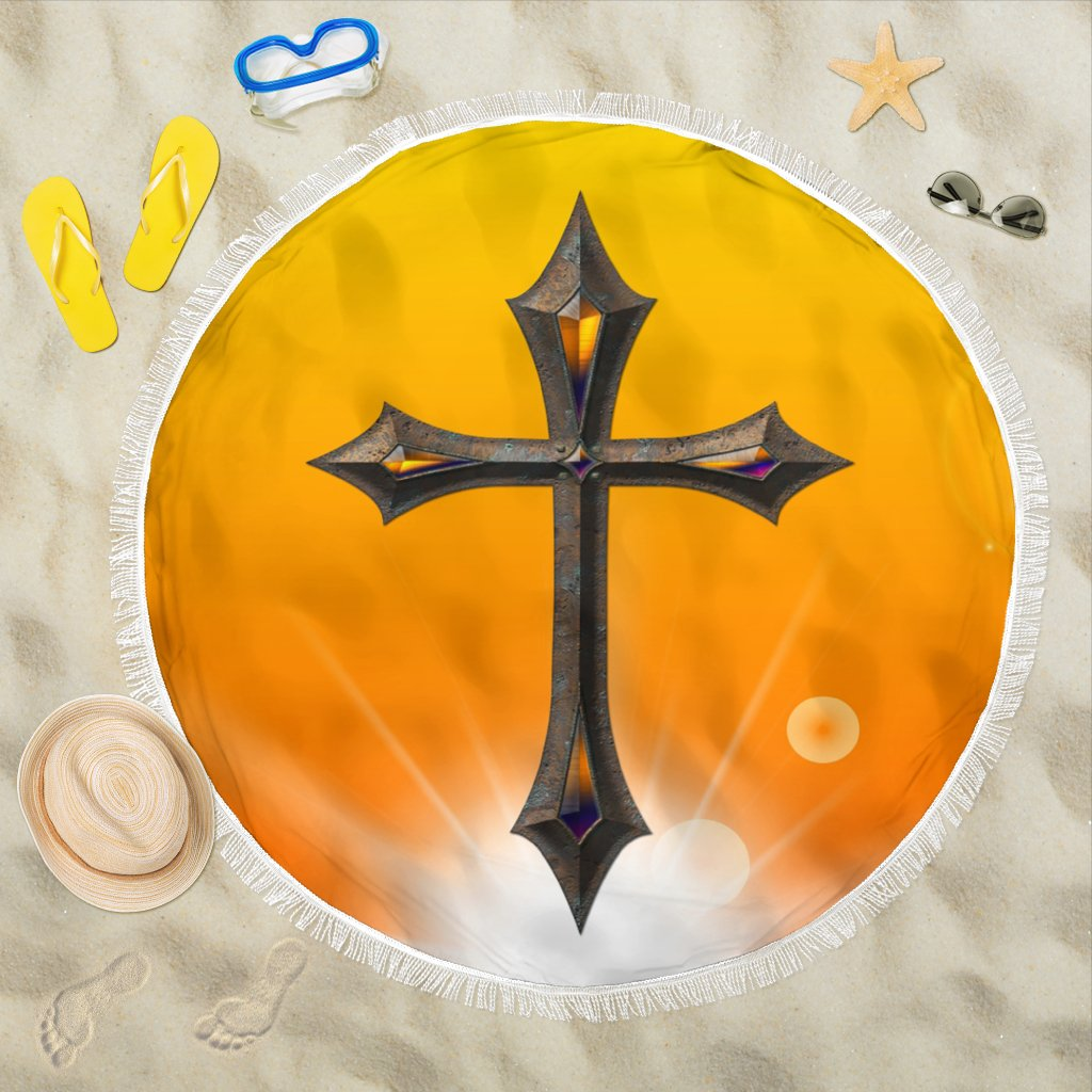 Yellow Metallic Cross Beach Towel - Christianity Amore