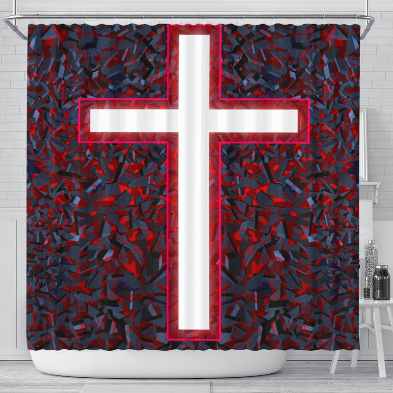 Lava Red and Blue Shower Curtain - Christianity Amore