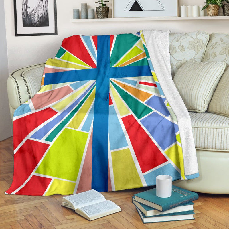 Modern Stain Glass Cross Blanket - Christianity Amore