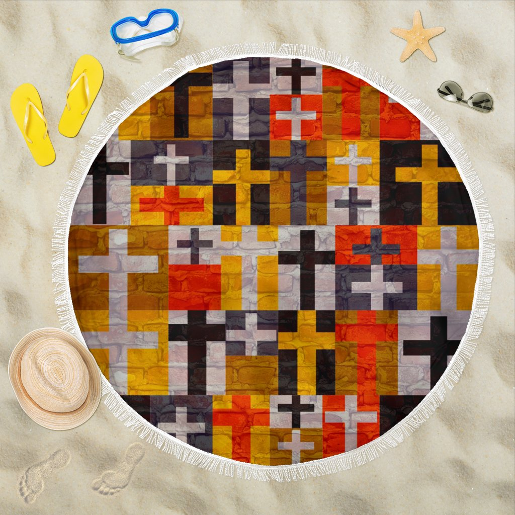 Patchwork Quilt Cross Beach Towel - Christianity Amore
