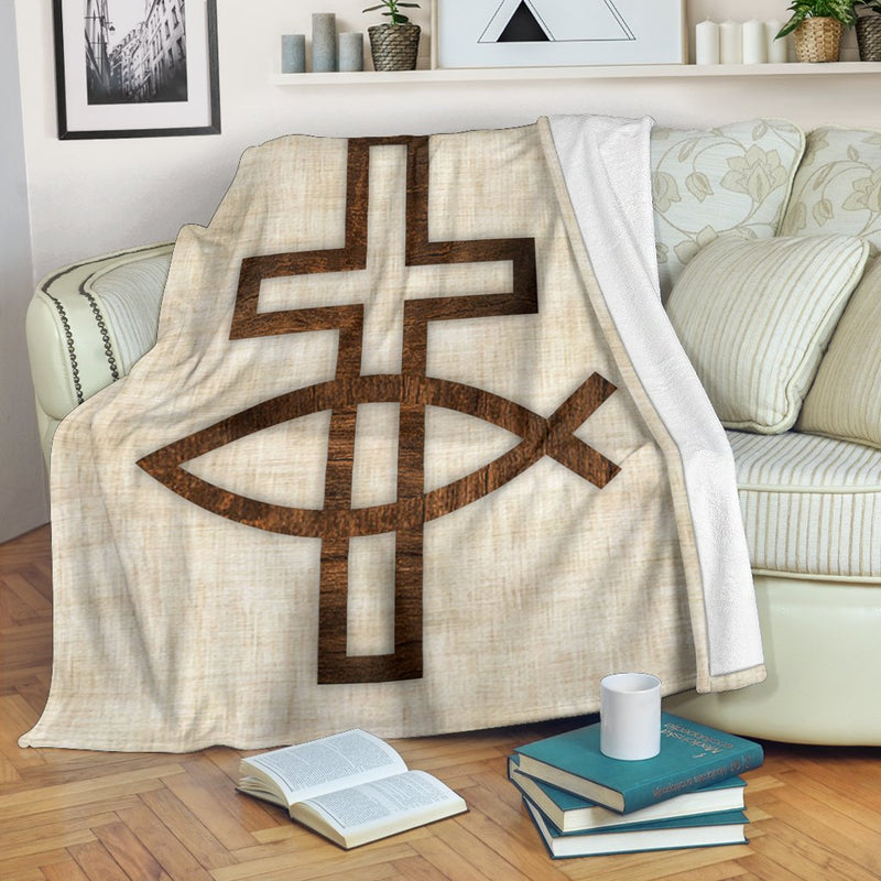 Fish & Cross Blanket - Christianity Amore