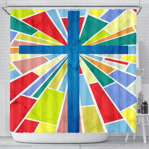 Modern Stain Glass Cross Shower Curtain - Christianity Amore