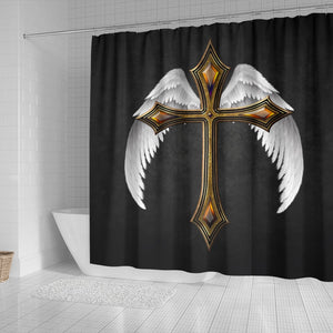 Winged Jeweled Cross Shower Curtain - Christianity Amore