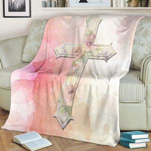 Pink Roses Cross Blanket - Christianity Amore