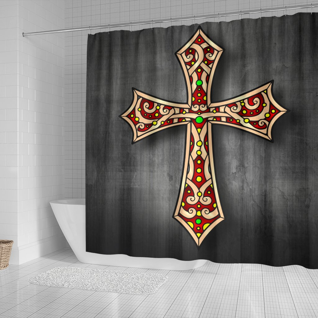 Regal Black Cross Shower Curtain - Christianity Amore