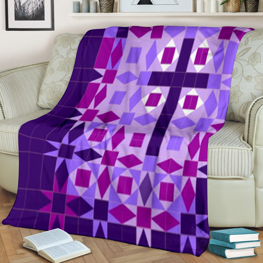 Purple Quilt Cross Blanket - Christianity Amore