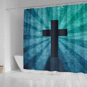 Blue Shadow Cross Shower Curtain - Christianity Amore