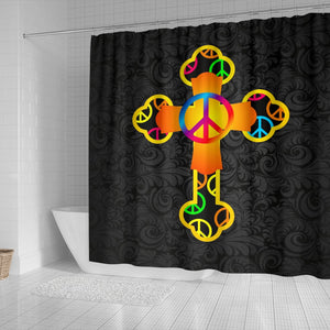 Hippie Cross Black Shower Curtain - Christianity Amore