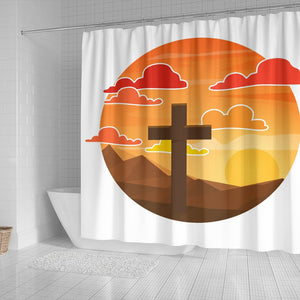 Sunset Cross on White  shower Curtain - Christianity Amore