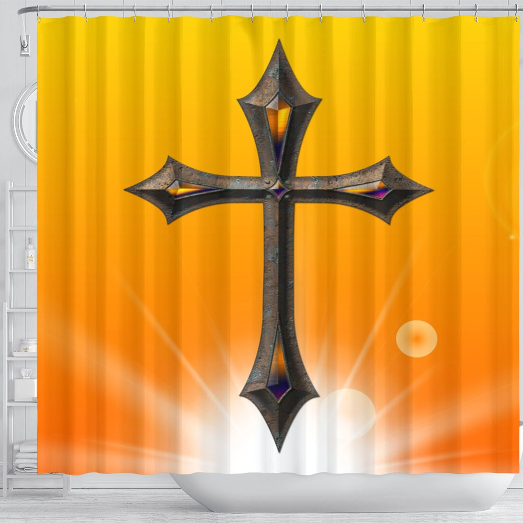 Yellow Knight Cross Shower Curtain - Christianity Amore