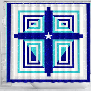 Teal & Blue Cross  Shower Curtain - Christianity Amore