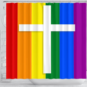 LBGTQ Cross Shower Curtain - Christianity Amore